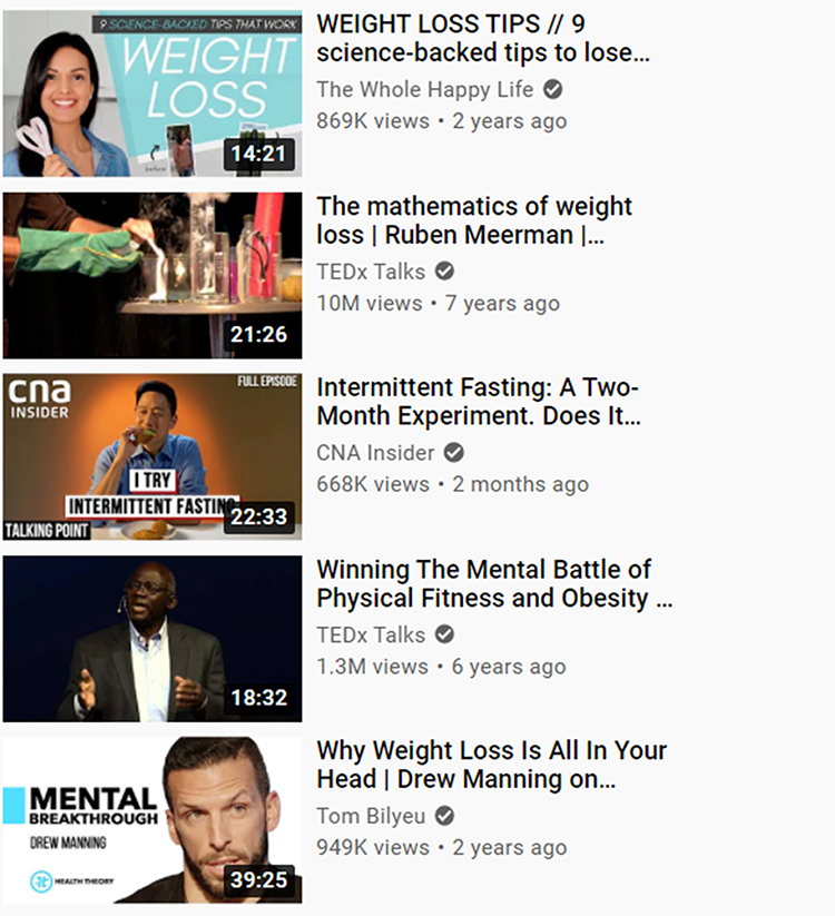 Youtube search engine result, related video suggestions.