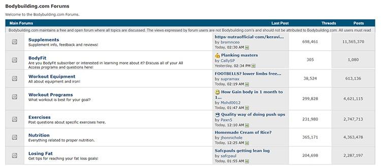 Fitness online forum example.