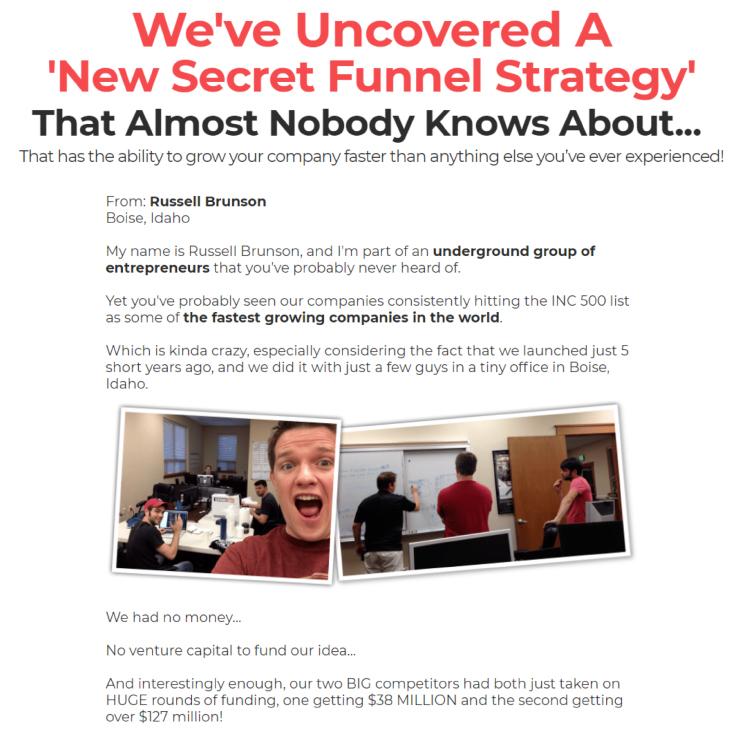 Clickfunnels DotCom Secrets Russel Brunson call to action.