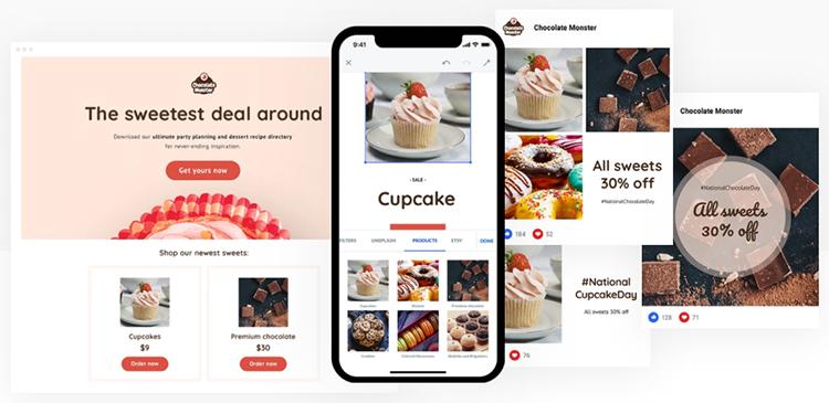 GetResponse pre-designed social media ads template examples.