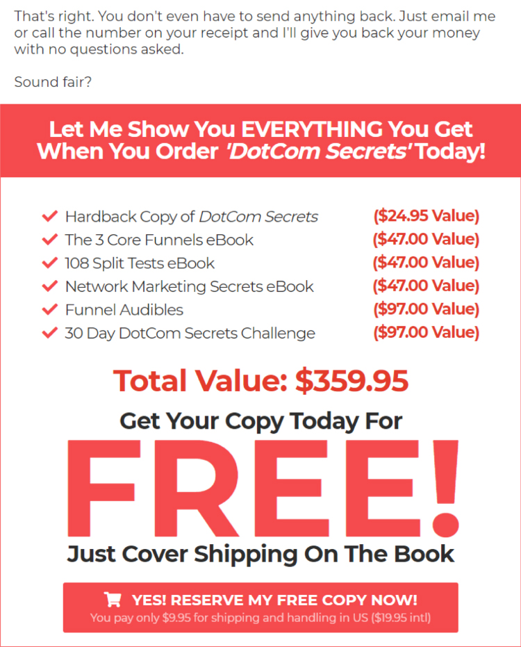 Clickfunnels DotCom Secrets Russel Brunson offer webpage.