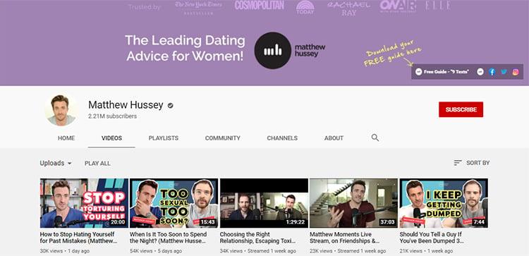 Matthew Hussey Youtube channel screenshot.