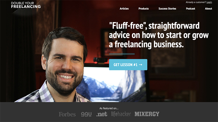 Double Your Freelancing opt-in page being used as a website homepage example.