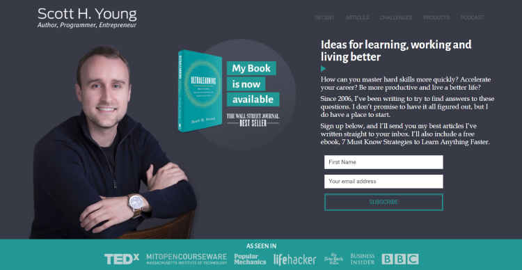 Ultralearning opt-in page being used as a website homepage example.
