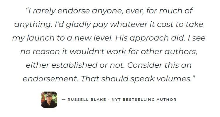 Medium-Length Landing Page, New York Time bestseller testimonial.
