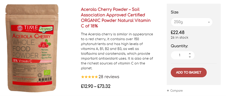 Acerola Cherry Powder increase quantity order upsell page with dialog menu.