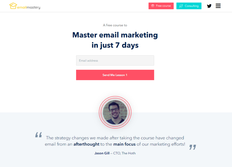 Master email marketing in 7 days, free course website squeeze page.