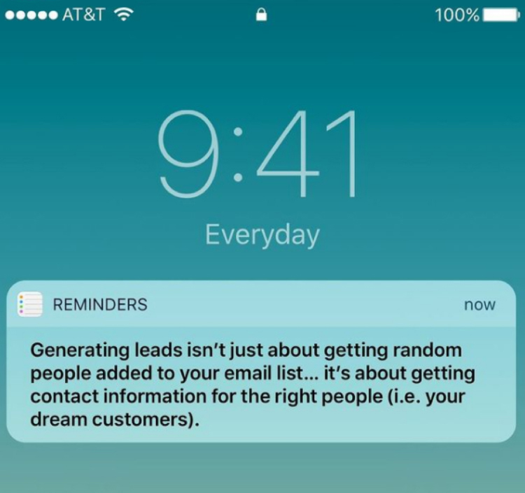 High-Quality Leads vs Low-Quality Leads cell phone notification reminder example.