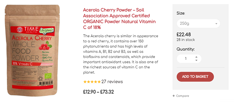 Cherry powder pricing for larger quantity discount,  upsell example.