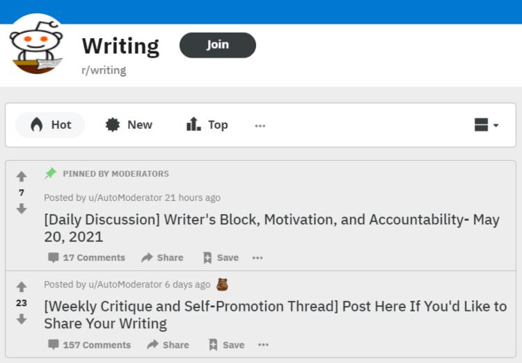 r/writing subreddit customer research for writer audience screenshot.