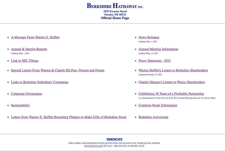 Berkshire Hathaway, high performance, functional website that converts online traffic.
