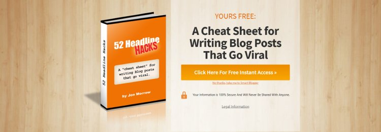 52 Headline Hacks website squeeze page, lead magnet example.