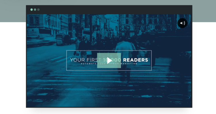 Your First 10k Readers opt-in page being used as a website homepage video.