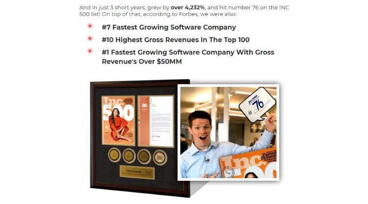 Long-Form Landing Page, ClickFunnels' company revenue statistics.