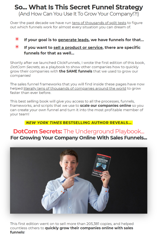 Long-Form Landing Page, ClickFunnels book sales transition.