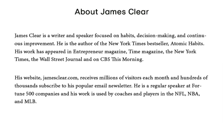 Atomic Habits book best testimonials from James Clear.