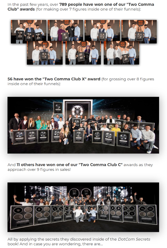 Long-Form Landing Page, ClickFunnels two comma club award pictorial.