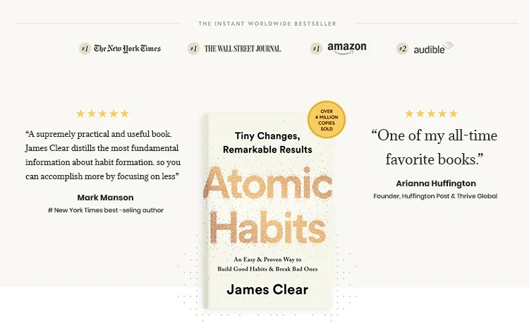 Atomic Habits book highlight as an Instant Worldwide Bestseller, repeated.