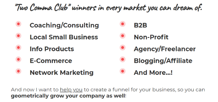 Long-Form Landing Page, ClickFunnels two comma club award winners target market examples.