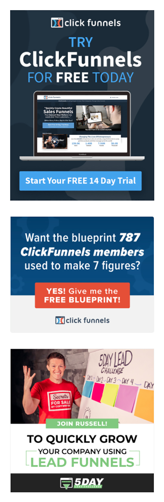 Try ClickFunnels for free today call-to-action.