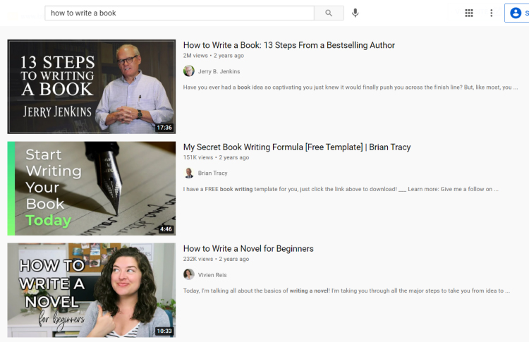 Youtube, how to write a book search result page example.