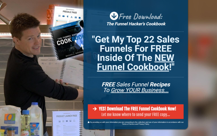 The Funnel Hacker Cookbook website squeeze page example.