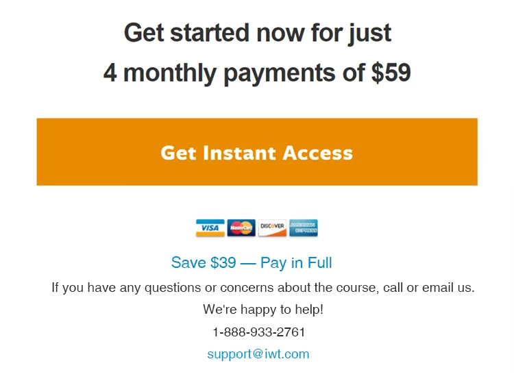 Clear call-to-action, get instant access button.