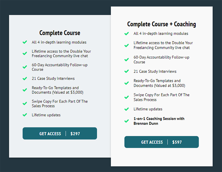 Complete online course and coaching, extra features, upsell graphic.