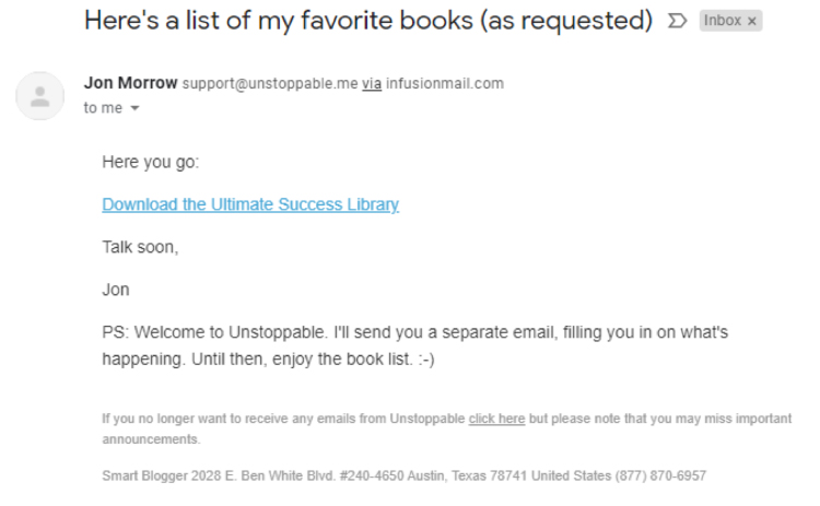 Email with requested list of books.