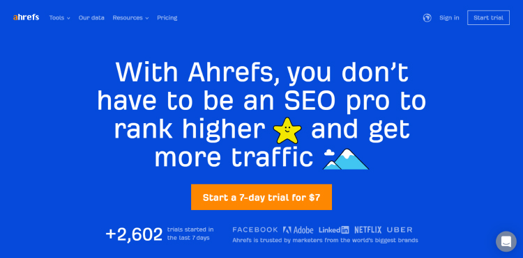 Ahrefs keyword research tool 7-day trial call-to-action.