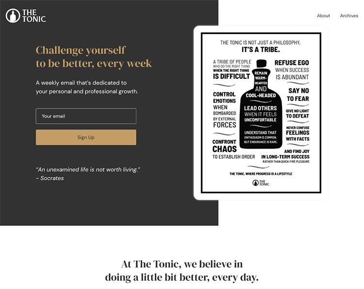 The Tonic, branded website homepage.