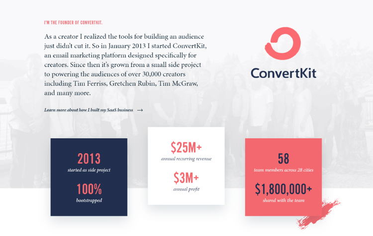 Squeeze Page as a Homepage, founder of ConvertKit pictoral.
