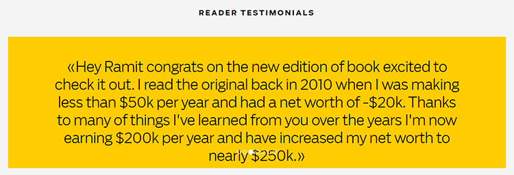 Short form sales page testimonial slider example.