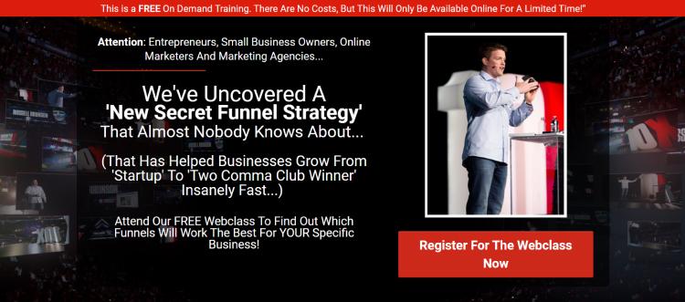 Clickfunnels Secret Funnel Strategy free webinar squeeze page.
