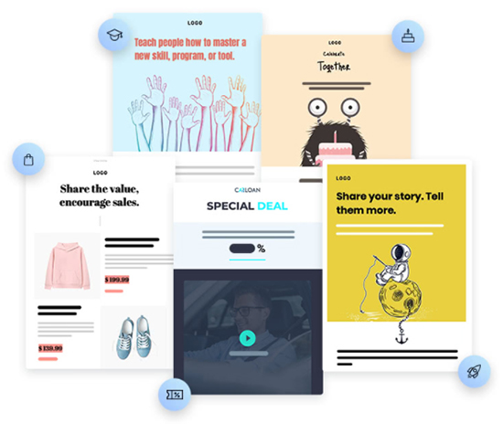 GetResponse templates for welcome emails, promotional emails, educational emails and sales emails graphic.