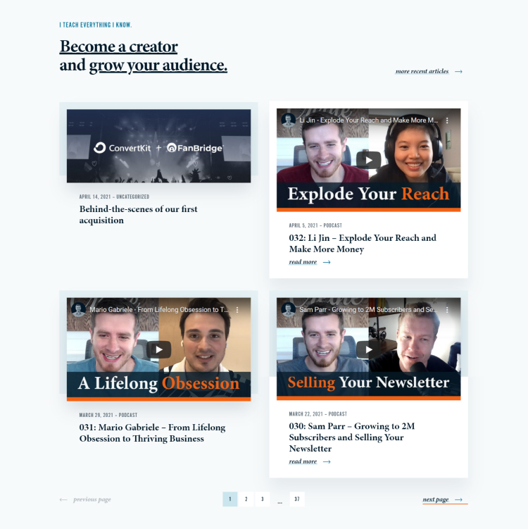 Squeeze Page as a Homepage, blog post and podcast episodes.