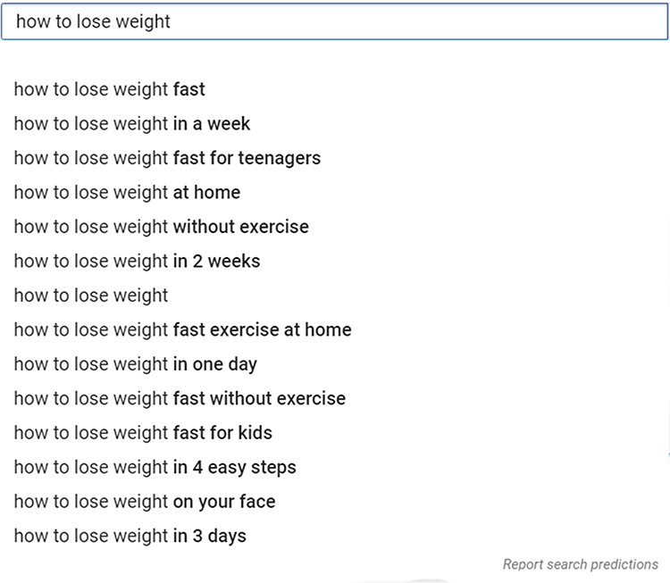 Google relevant search term, search suggestions.