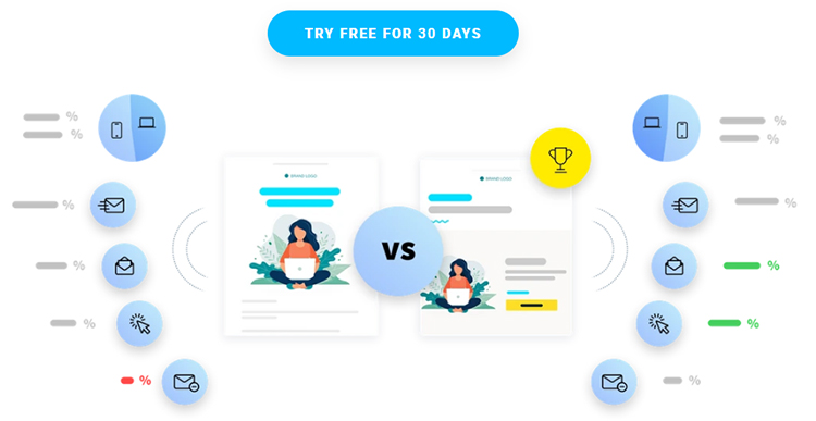 GetResponse, try free for 30 days, call to action outline.