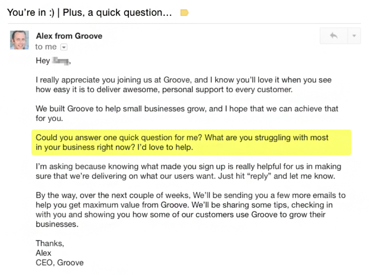Groove welcome email example.