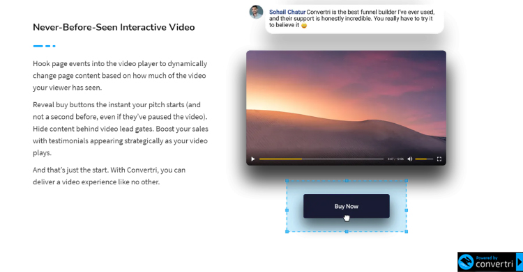 Convertri video video embedding features.