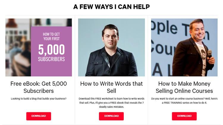 Helpful homepage resources example.