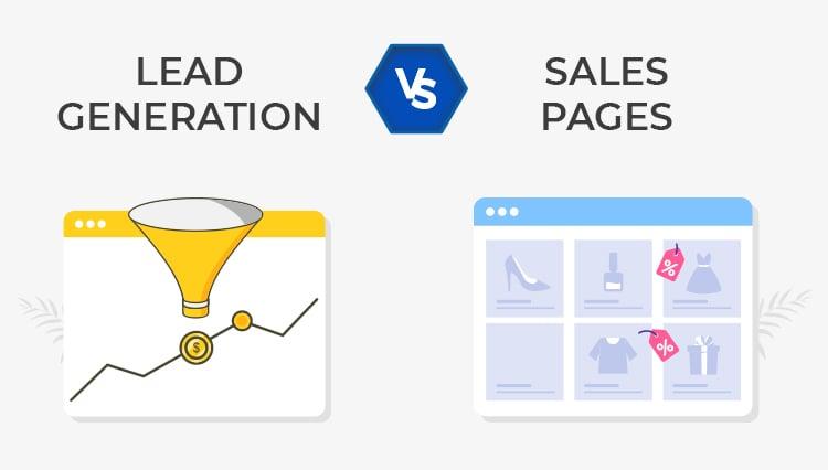 Lead Generation vs. Sales Page graphic.