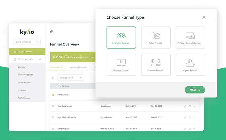 Kyvio's unlimited page sales funnel dashboard, dialog menu.