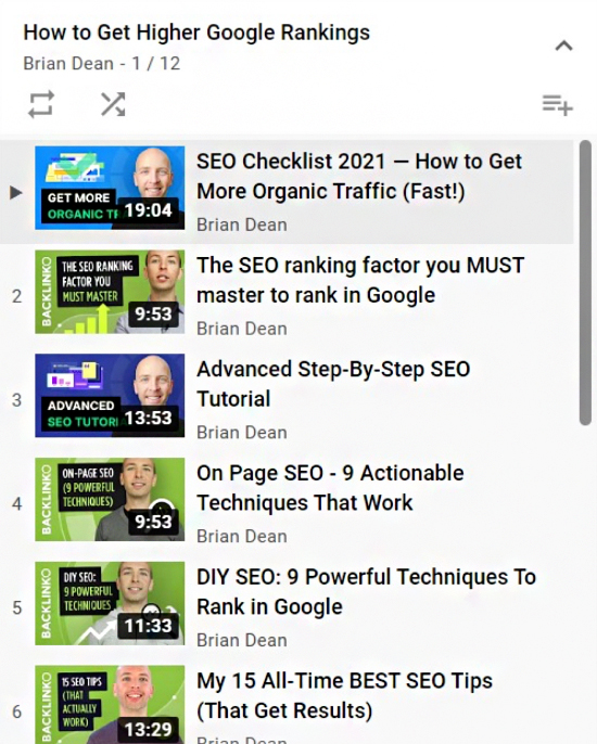 YouTube search engine result page.