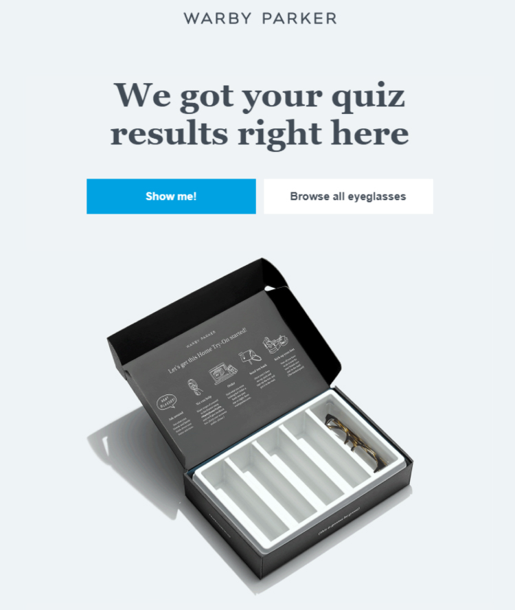 Quiz results, follow up email.