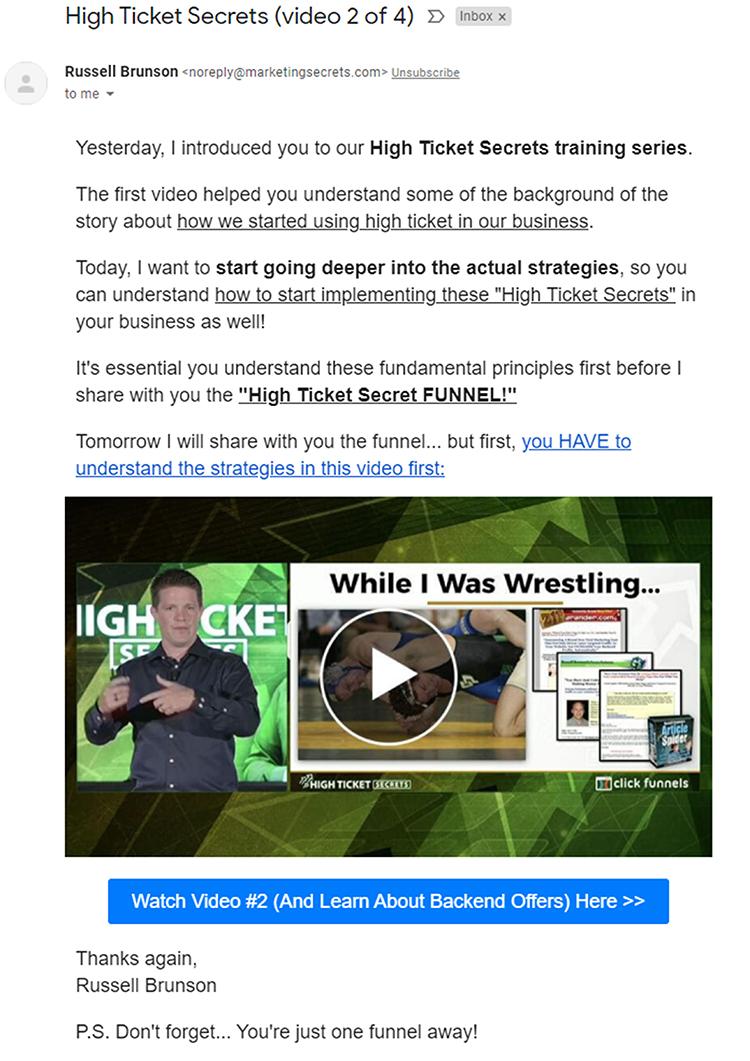 Clickfunnels, part 2, Clickfunnels, email follow-up example