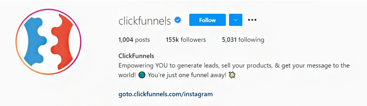 Build a Social Media Following, Clickfunnels, Instagram homepage data graphic.