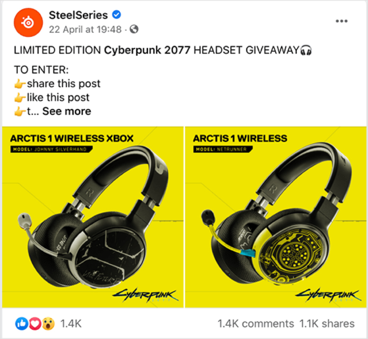 Gaming company headphone giveaway graphic.