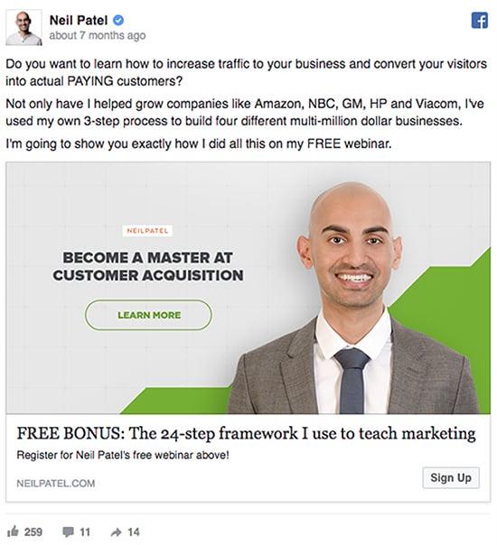 Free Masterclass, Neil Patel example.