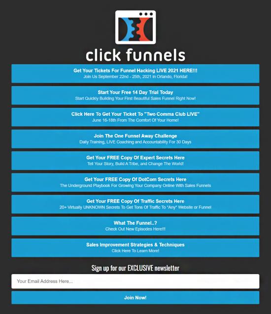 Build a Social Media Following, Clickfunnels, various lead magnet landing pages.